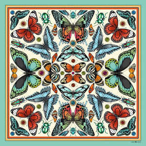 The Tropical Butterfly Silk Scarf - Turquoise | 90x90cm - Emily Carter London