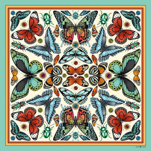 The Tropical Butterfly Silk Scarf | 65x65cm