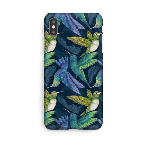 Luxury Phone Case - Tropical Hummingbirds Indigo