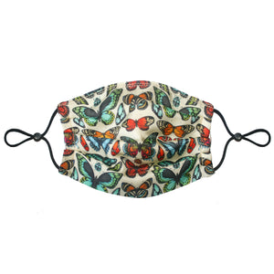 3-Layer Silk Face Mask (Non-Medical) - Tropical Butterfly Turquoise - Emily Carter London