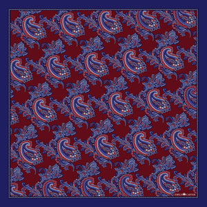The Floral Paisley Pocket Square - Maroon | 35x35cm