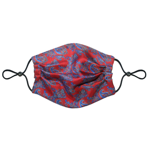 3-Layer Silk Face Mask (Non-Medical) - Paisley Maroon - Emily Carter London