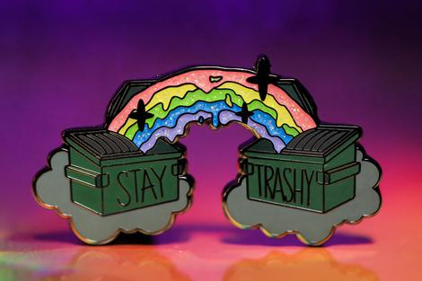Stay Trashy Pin - Glitter Version