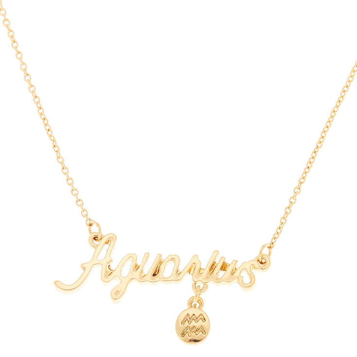 Horoscope Charm & Script Necklace