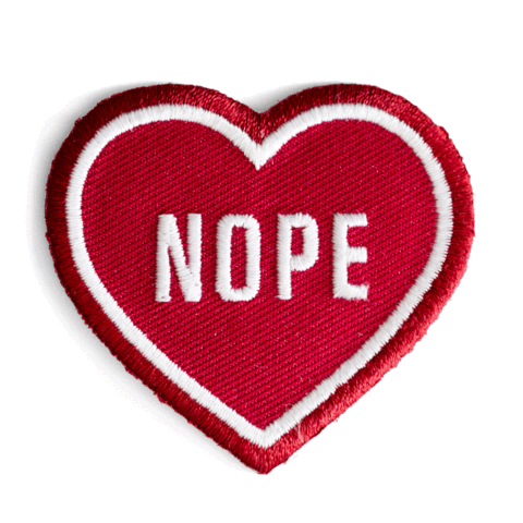 Nope Heart Embroidered Iron-On Patch