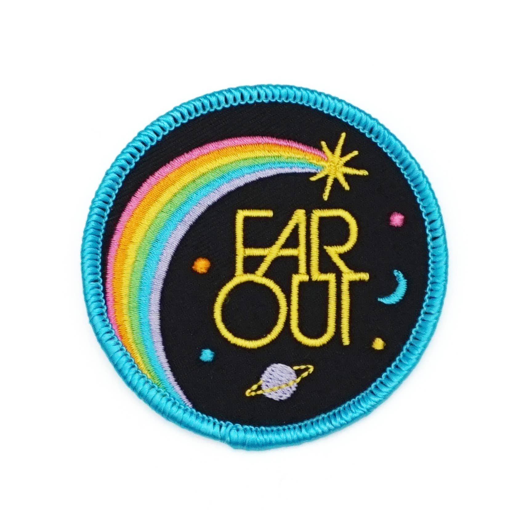 Far Out Embroidered Iron-on Patch