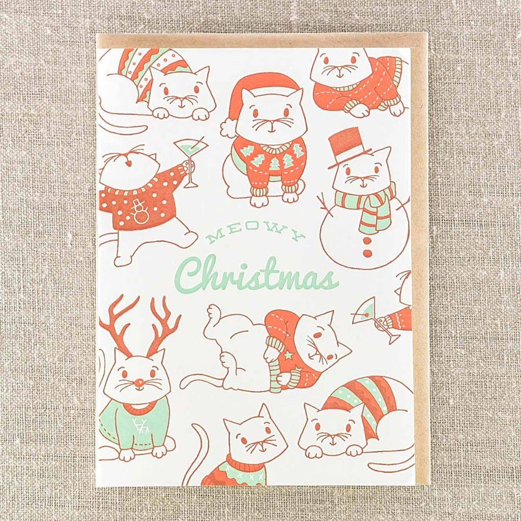 Meowy Christmas Holiday Card