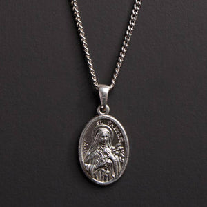 ST. THERESE STERLING SILVER MEDAL NECKLACE FOR MEN