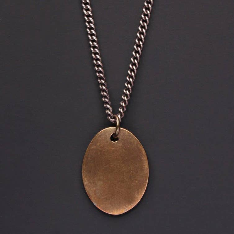 BRONZE TAG & OXIDIZED STERLING MEN'S CURB CHAIN NECKLACE