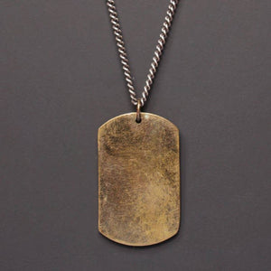 LARGE BRONZE DOG TAG W/ STERLING SILVER CHAIN