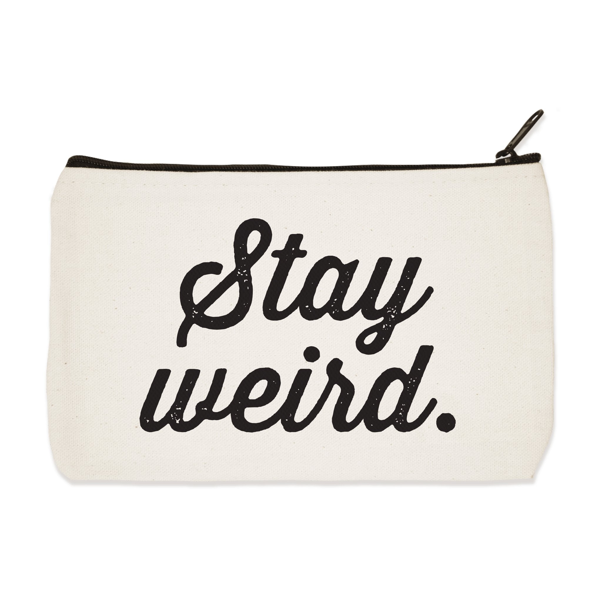 Stay Weird White Canvas Pouch