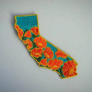 California Poppy Embroidered Iron-on Patch