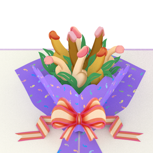 Dick Bouquet Inappropriate 3D Greeting Card