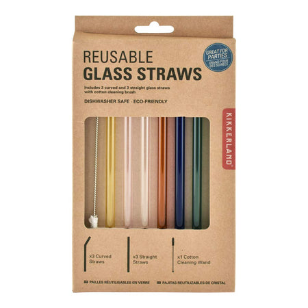 Colorful Reusable Glass Straws Set of 6