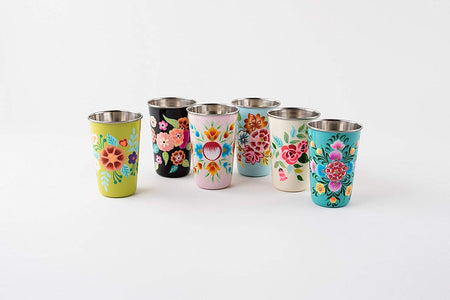 Handpainted Floral Stainless Cup