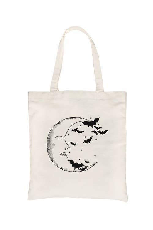 Moon And Bats Canvas Bag