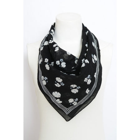 Black and White Floral Scarf