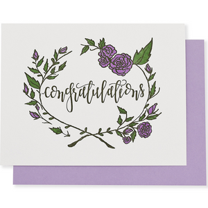 Congratulations Rose Wreath Greeting Card