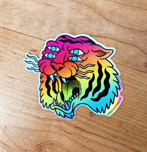 For Eyes Rainbow Tiger Holographic Sticker