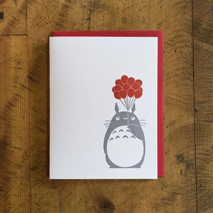 Totoro Balloons Letterpress Greeting Card