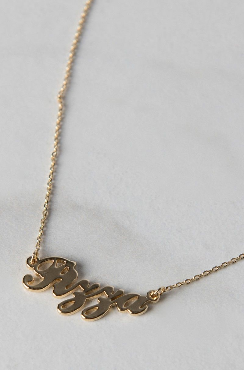 Cursive Pizza Necklace