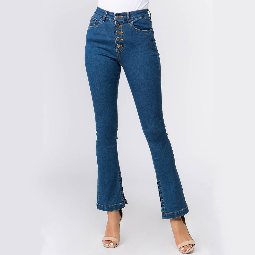 All Buttoned Up High Waisted Flare Jeans - KLOTH & CO