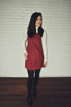 Load image into Gallery viewer, Dancing In The Street Burgundy Corduroy Overall Dress - KLOTH & CO