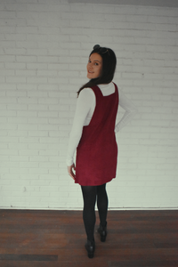Dancing In The Street Burgundy Corduroy Overall Dress - KLOTH & CO
