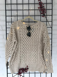 Coffee Date Cream Eyelet Sweater - KLOTH & CO