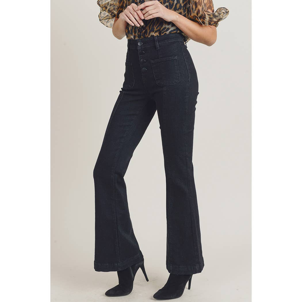 Helena Black High Rise Flare Jeans - KLOTH & CO
