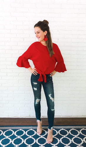 Don't Stop The Crop Red Ruffle Top - KLOTH & CO