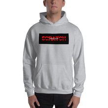 "Load image into Gallery viewer, ""Started From Scratch"" Unisex Hooded Sweatshirt w/black background and black stripe"