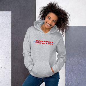 """Started From Scratch"" Unisex Hooded Sweatshirt w/blue stripe"