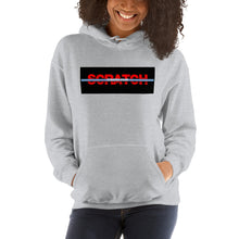 "Load image into Gallery viewer, ""Started From Scratch"" Unisex Hooded Sweatshirt w/black background and light blue stripe"