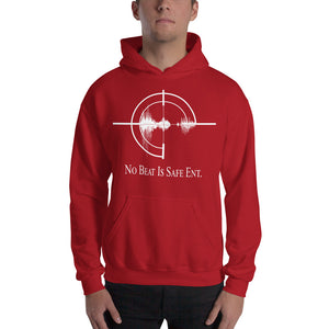 No Beat Is Safe Ent. Unisex Hooded Sweatshirt w/ white emblem