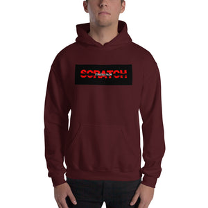 """Started From Scratch"" Unisex Hooded Sweatshirt w/black background and black stripe"