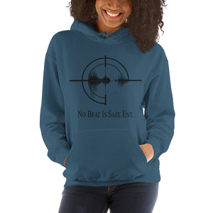 No Beat Is Safe Ent. Unisex Hooded Sweatshirt w/ black emblem