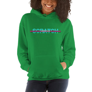 "(Special Edition) ""Started From Scratch"" Unisex Hooded Sweatshirt w/teal lettering and fuchsia stripe"