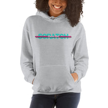 "Load image into Gallery viewer, (Special Edition) ""Started From Scratch"" Unisex Hooded Sweatshirt w/teal lettering and fuchsia stripe"