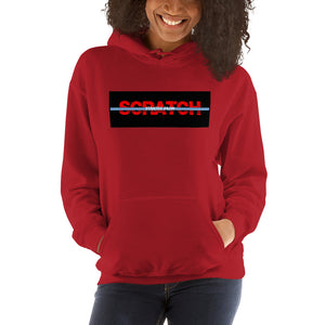 """Started From Scratch"" Unisex Hooded Sweatshirt w/black background and light blue stripe"