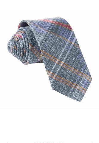 Slate Blue Misty Plaid Tie