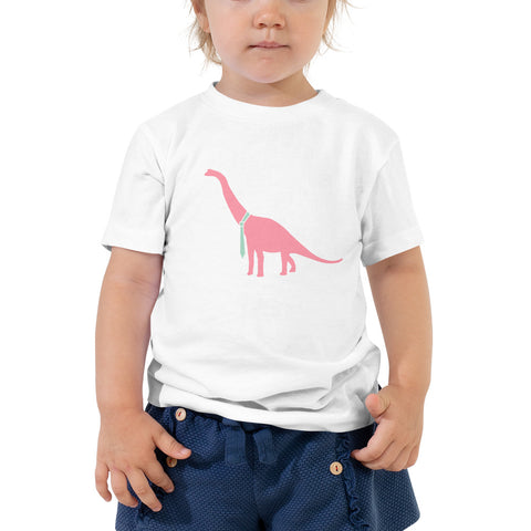 Dino Goes Pink Toddler Short Sleeve Tee