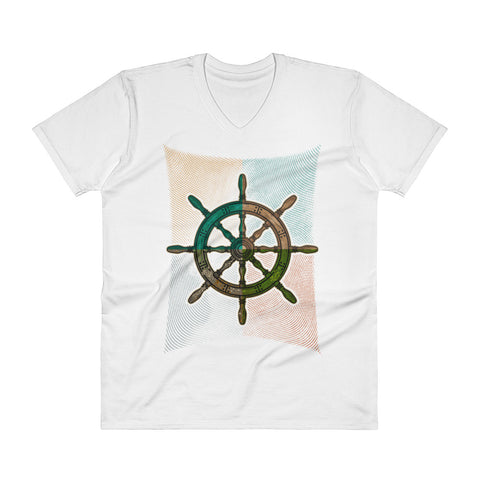 """Captain's Wheel"" V-Neck T-Shirt"