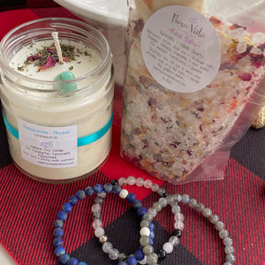 #4 Candle, Stone Bracelet & Rock Salts