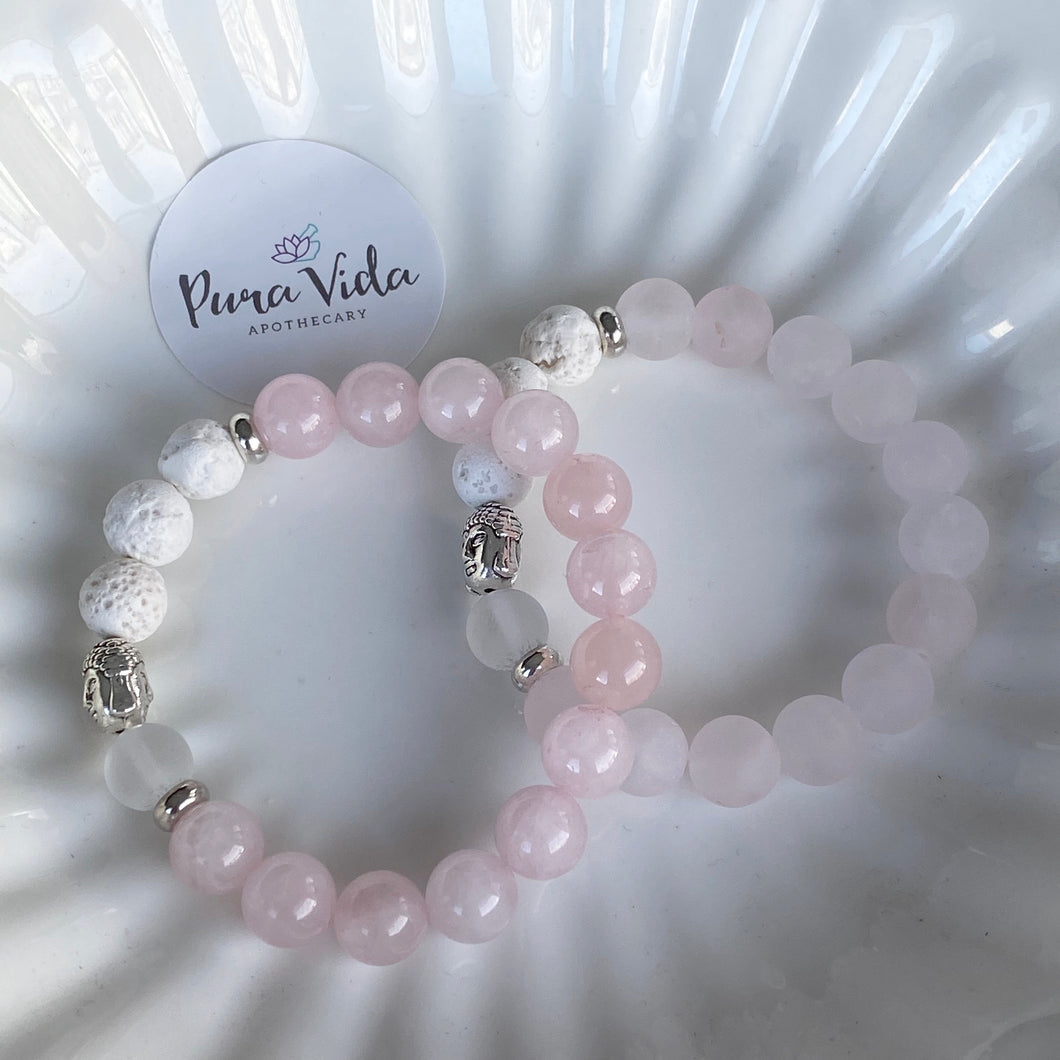 Rose & Clear Quartz Buddha Bracelet | 10MM