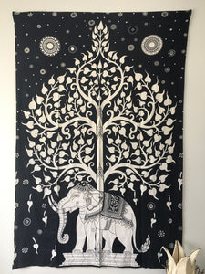 Tree Of Life Elephant Tapestry Black White