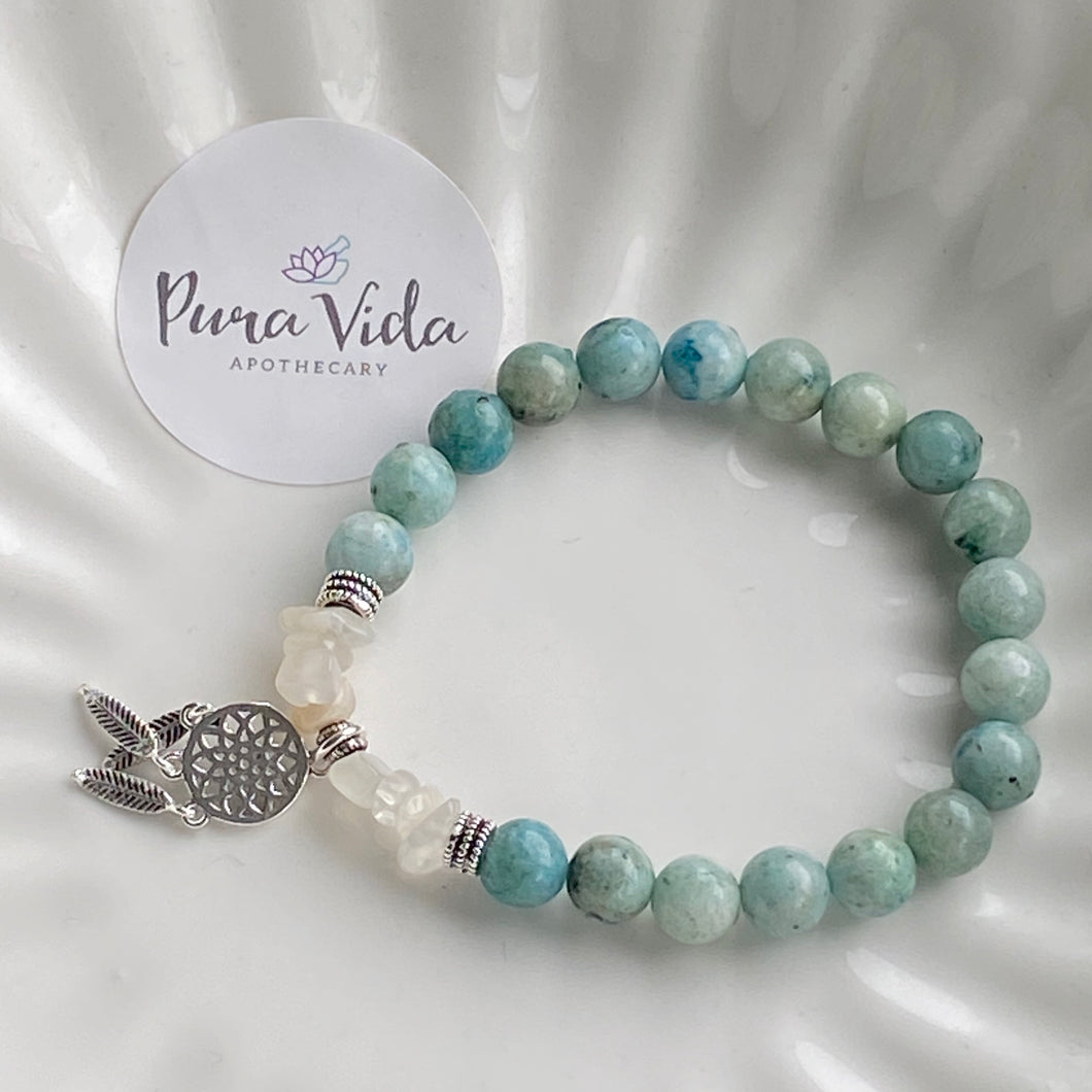 Hemimorphite & Moonstone Dream Catcher | Sterling Silver Collection