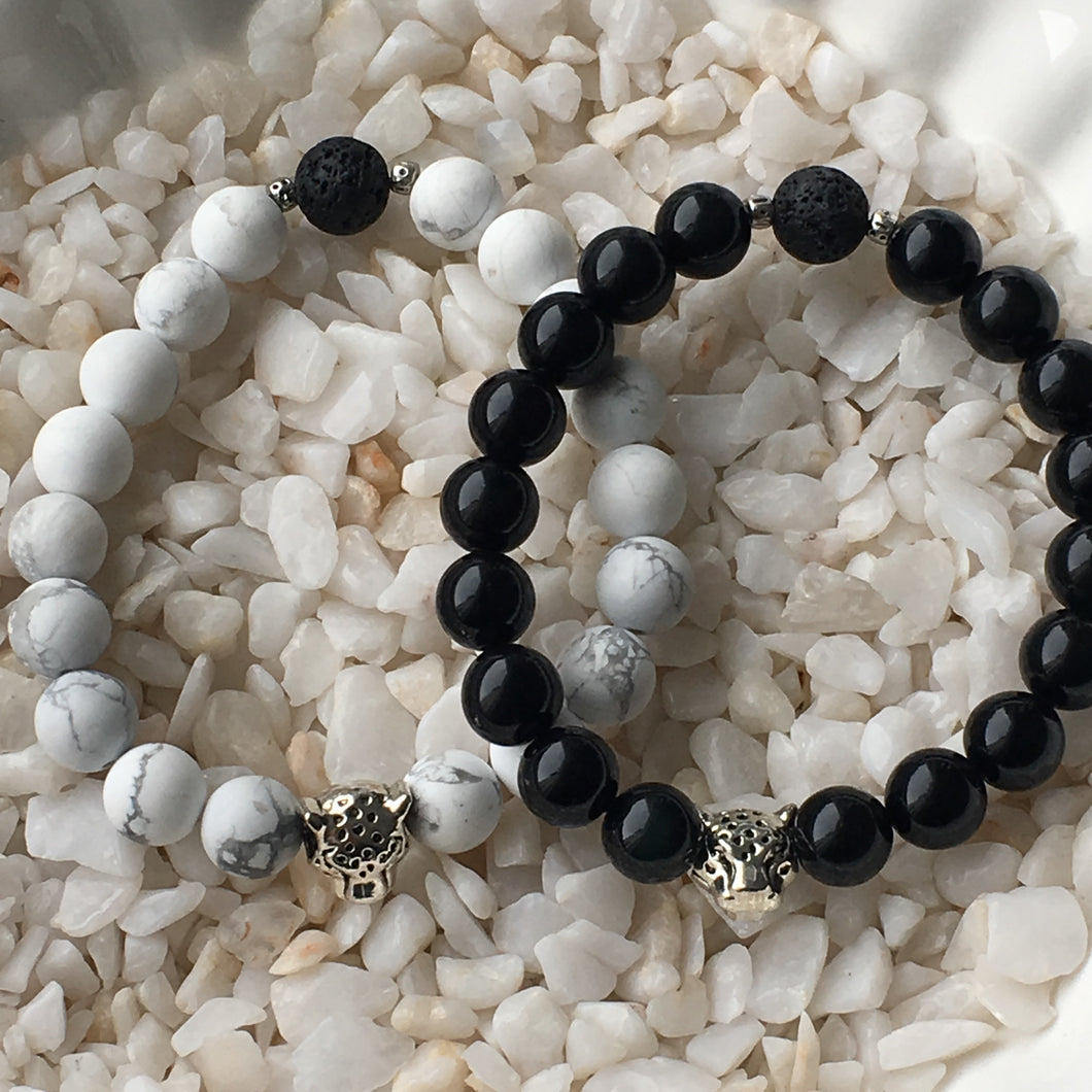 Leopard Gem Bracelet | White & Black