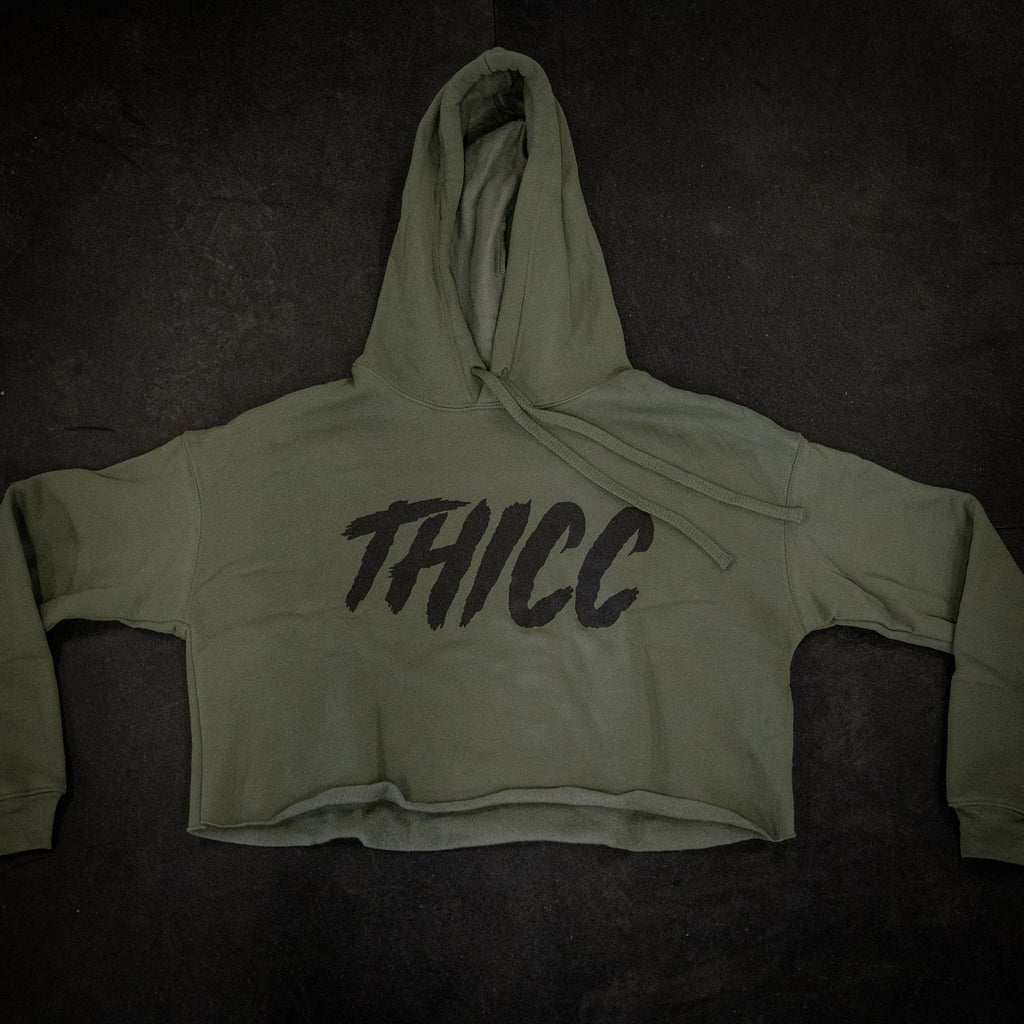 Thicc Crop Hoodie Military Green
