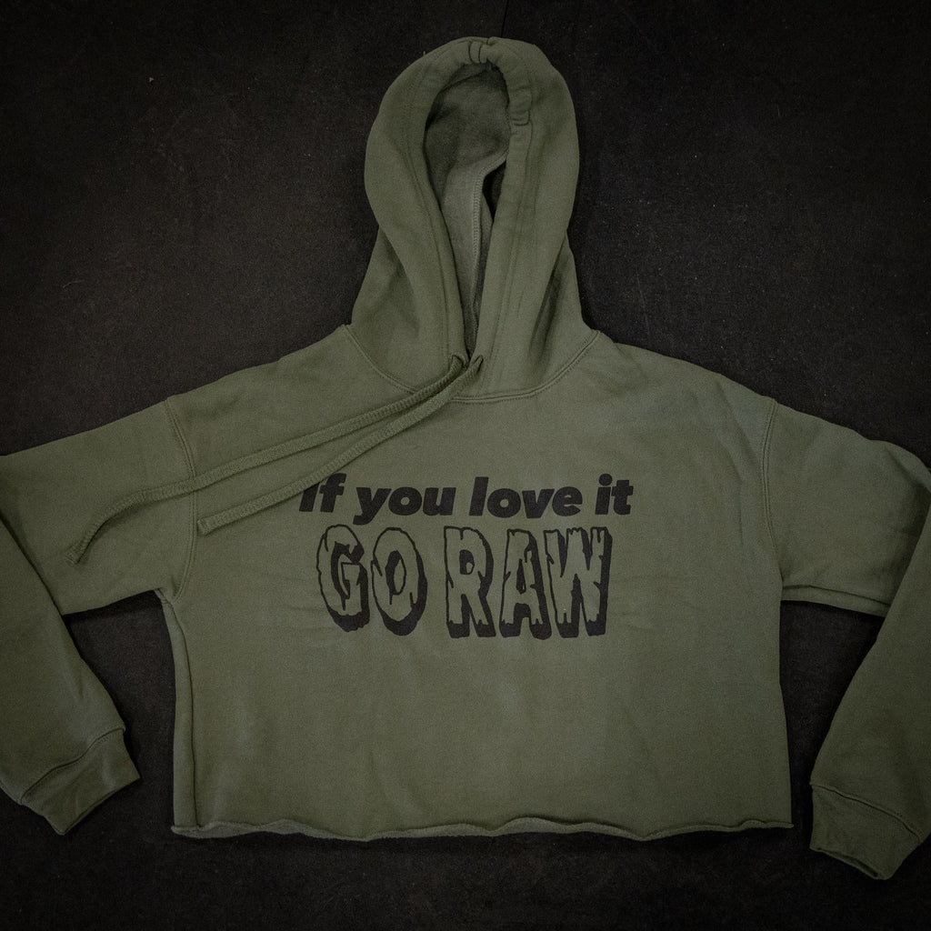 Go Raw Crop Hoodie Military Green